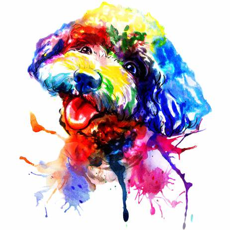 463x463 Custom Watercolor Dog Painting From Photo Dog Caricature Drawing