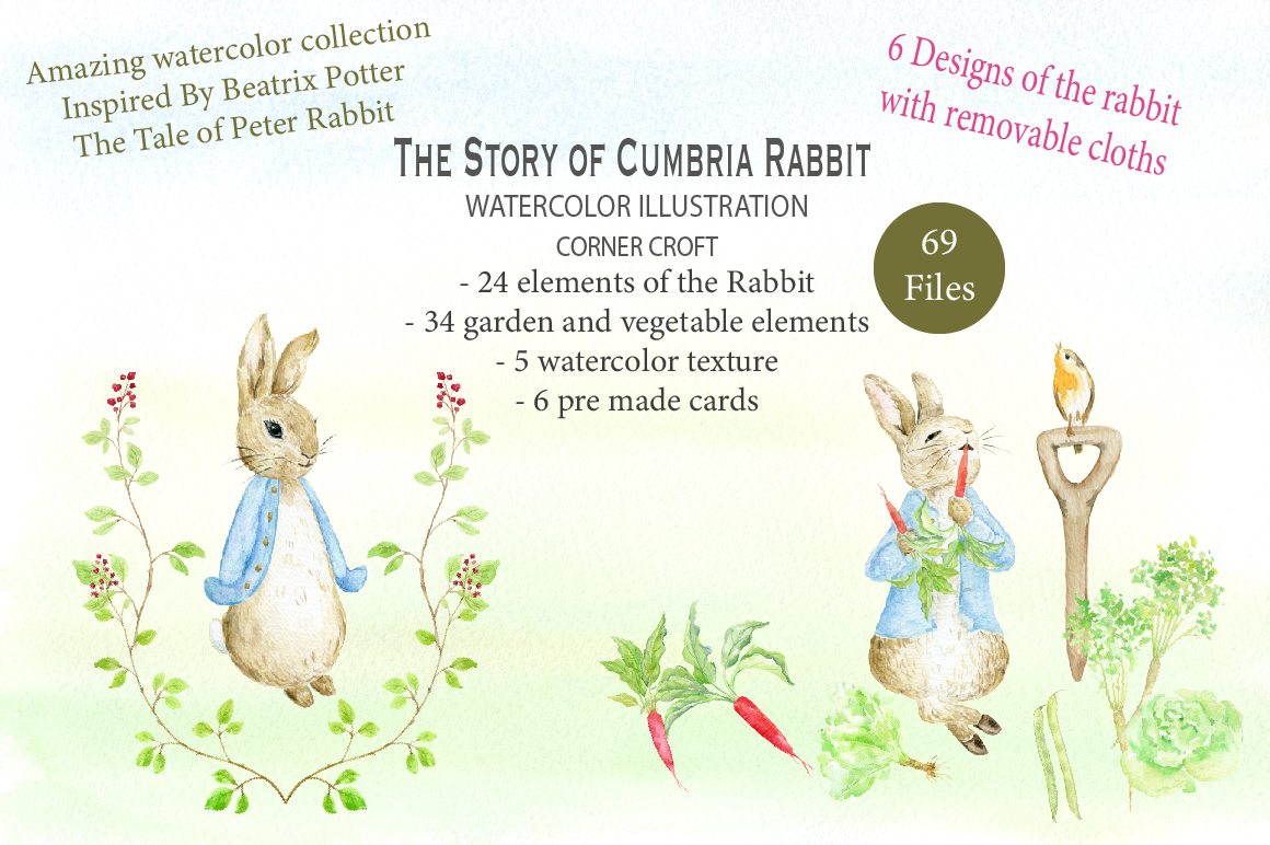 1160x772 Watercolor Cumbria Rabbit Illustration By Cornercroft
