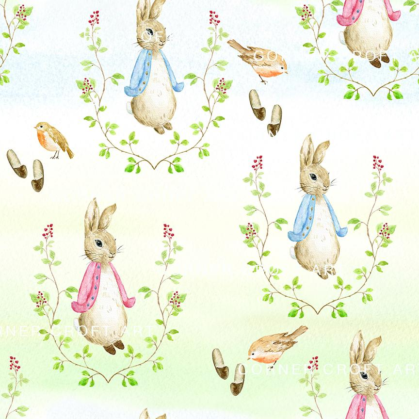 864x864 Watercolor Cumbria Rabbit Pattern Inspired By Beatrix Potter Book