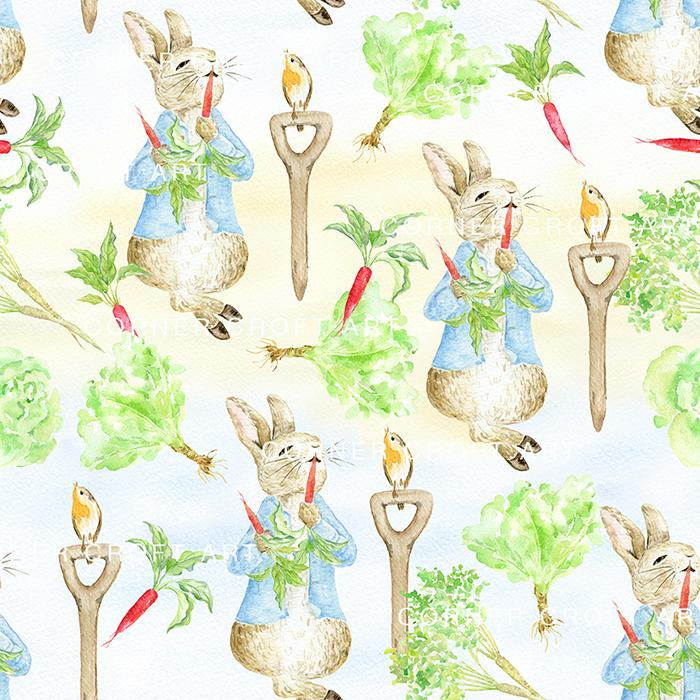 700x700 Watercolor Pattern Cumbria Rabbit Inspired By The Tale Of Peter