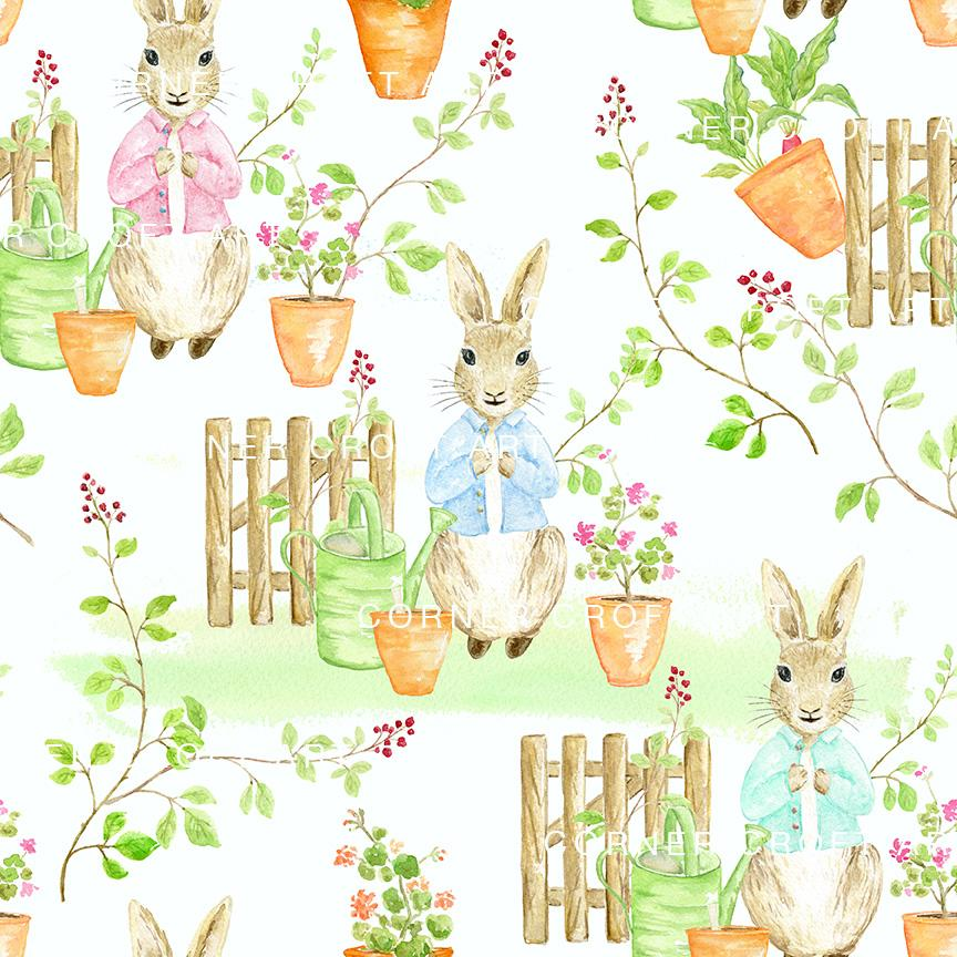 864x864 Watercolor Rabbit Seamless Pattern Inspired By Tale Of Peter
