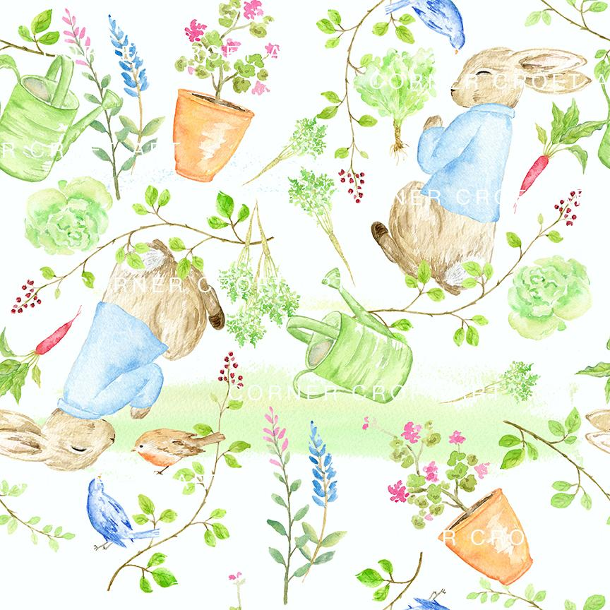 864x864 Watercolor Sleepy Rabbit Pattern Inspired By The Tale Of Peter
