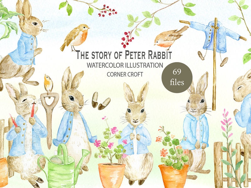 800x600 Watercolor Clipart Peter Rabbit By Chengjing