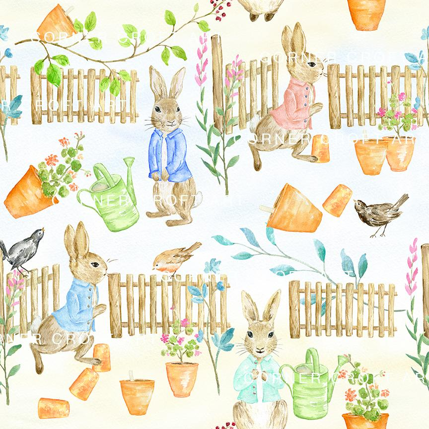 864x864 Watercolor Digital Paper Cumbria Rabbit Inspired By Beatrix Potter