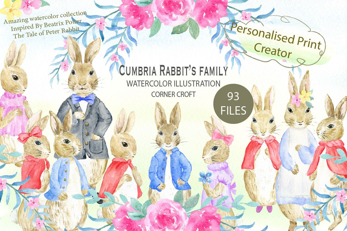 1158x772 Cumbria Rabbit Family, Mum, Dad, Sisters, Watercolor Illustration
