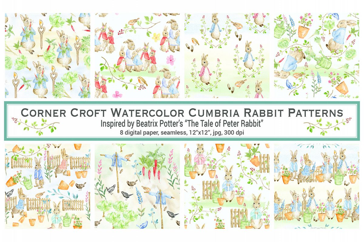 1200x800 Watercolor Cumbria Rabbit Digital Paper Inspired By Beatrix