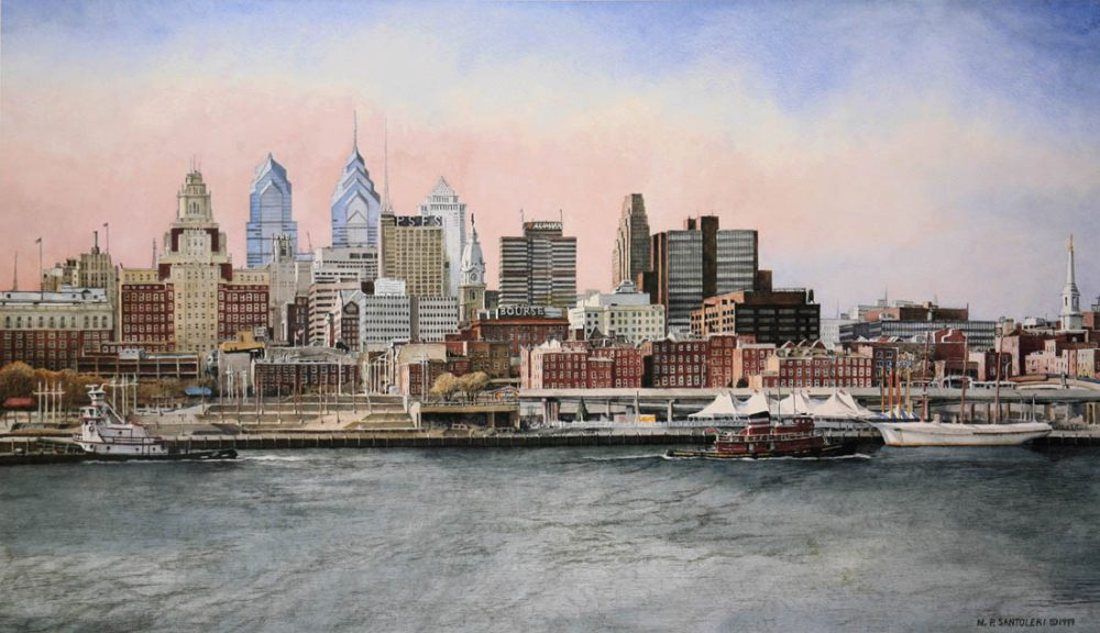 1000x576 Philadelphia Skyline Painting Amp Limited Edition Print