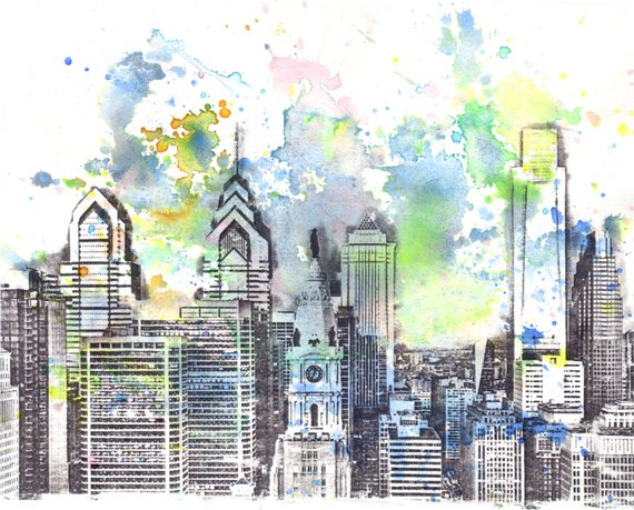 570x459 Philadelphia Skyline Art Print Watercolor Painting Philadephia Etsy