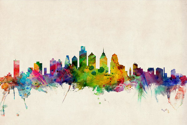 600x400 Philadelphia Skyline Art Print By Michael Tompsett