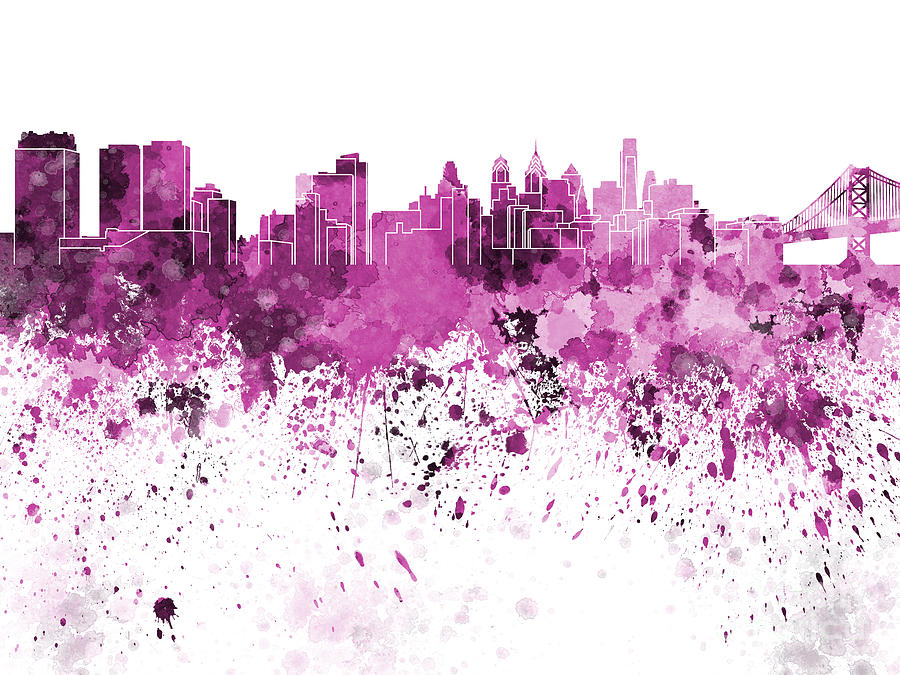 900x675 Philadelphia Skyline In Pink Watercolor On White Background