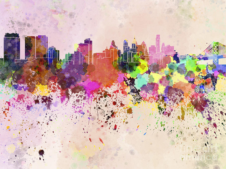 900x674 Philadelphia Skyline In Watercolor Background Digital Art By Pablo