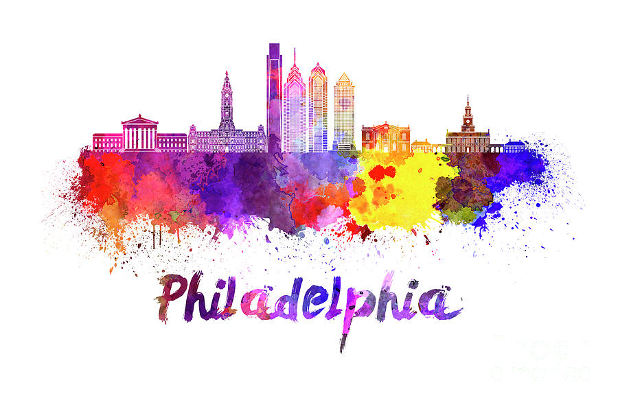 900x590 Philadelphia Skyline In Watercolor Painting By Pablo Romero
