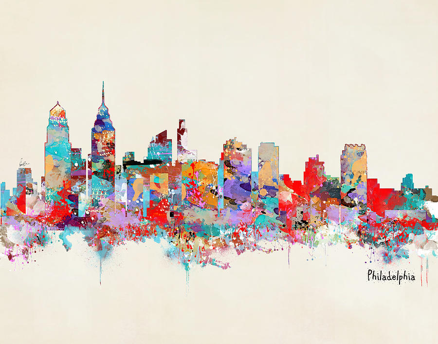 900x707 Philadelphia Skyline Paintings Fine Art America