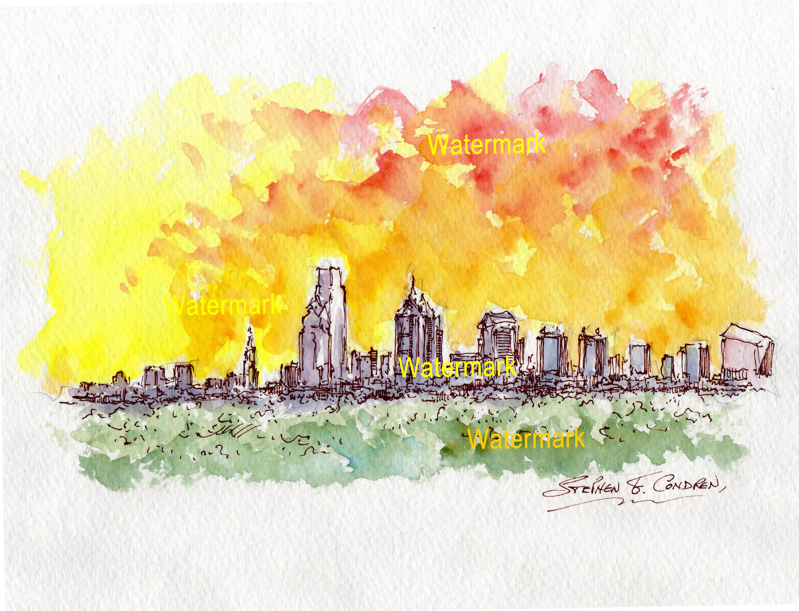 2738x2094 Philadelphia Sunset Watercolors And Prints Condren Galleries Ltd.
