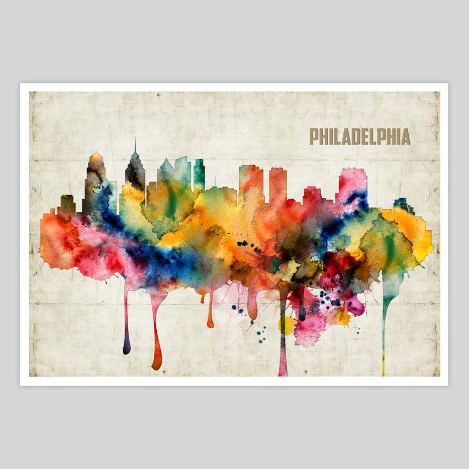 933x933 Philadelphia Watercolor Print