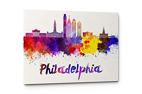463x309 Watercolor City Splash Skyline Wall Art Canvas Print