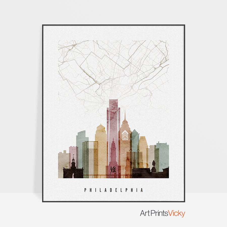900x900 Philadelphia Map Print Poster Watercolor 1 Artprintsvicky