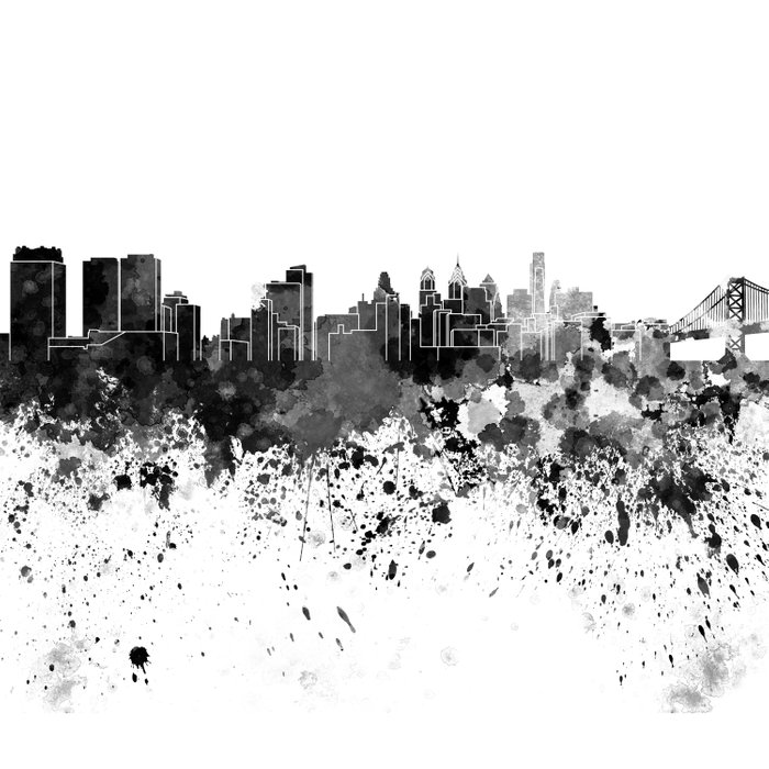 700x700 Philadelphia Skyline In Black Watercolor Duvet Cover By Paulrommer