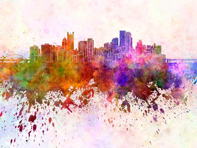 800x600 Pittsburgh Skyline In Watercolor Background Stock Photo Colourbox