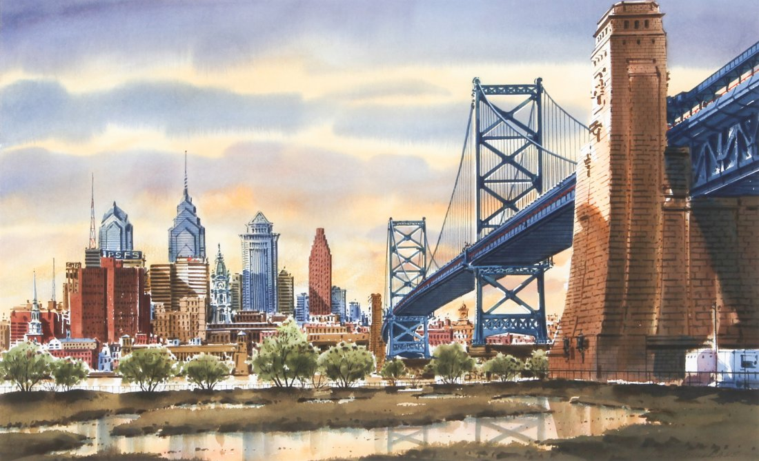 1100x669 Ressler, Watercolor, Philadelphia Skyline And Bridge