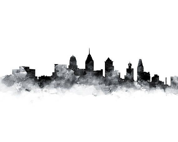 570x456 Philadelphia Print, Skyline, Watercolor Painting, Pennsylvania Art