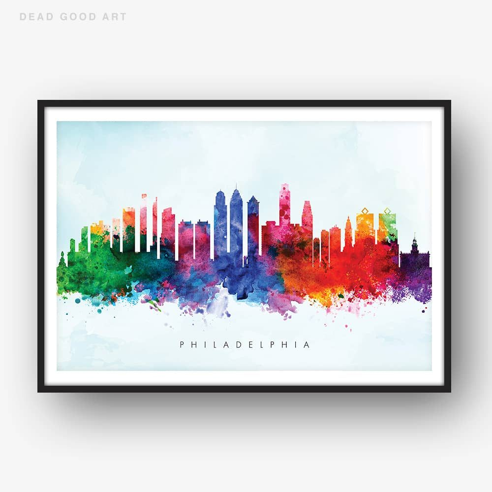 1000x1000 Philadelphia Skyline, Blue Wash Watercolor Print Dead Good Art