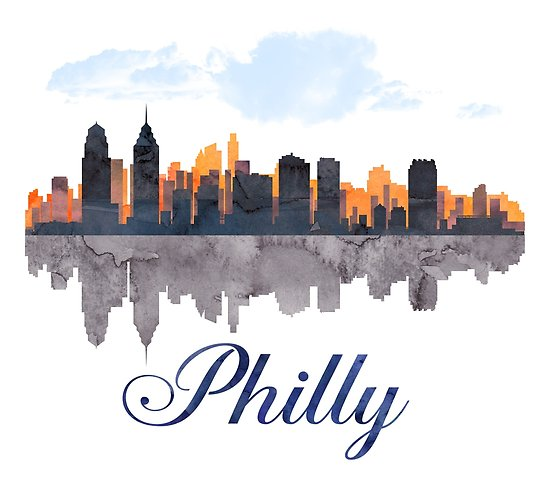 550x485 Philadelphia Skyline, Pennsylvania, Watercolor Posters By T