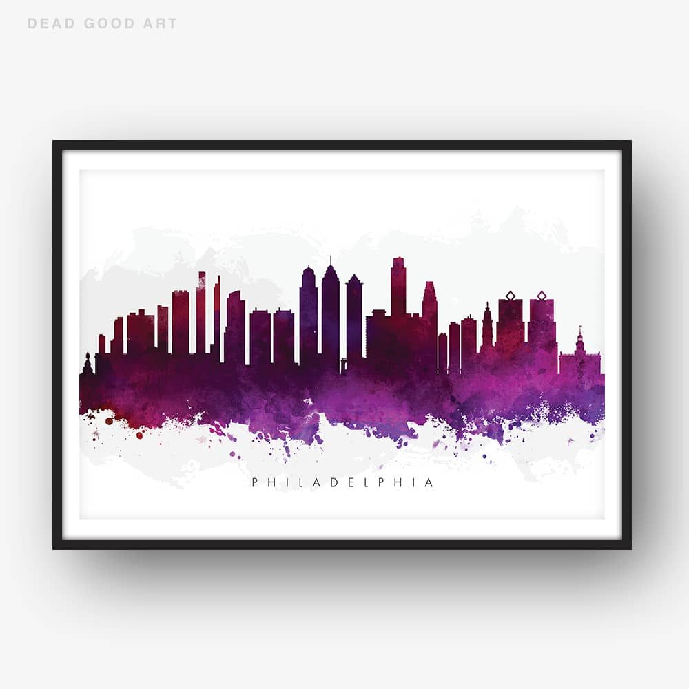 1000x1000 Philadelphia Skyline, Purple Watercolor Print Dead Good Art