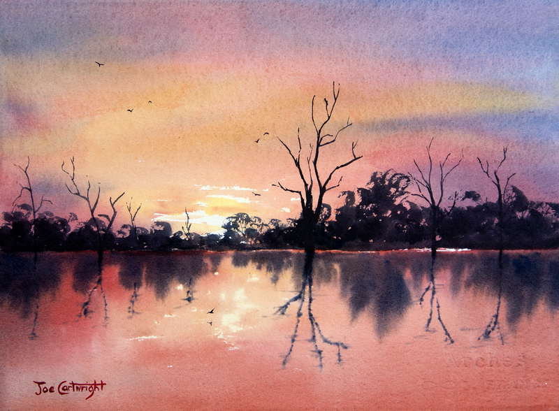 800x588 Lake Bonney Red Sunset Watercolor Painting South Australia