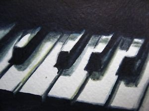300x225 Watercolor Painting Black Amp White Piano Keys Music Song Aceo Art