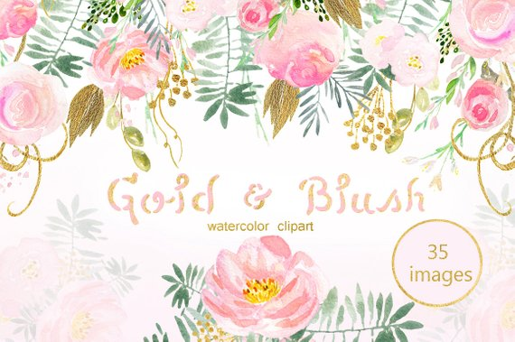570x379 Blush Pink And Gold Watercolor Clip Art. Pink Watercolour Etsy