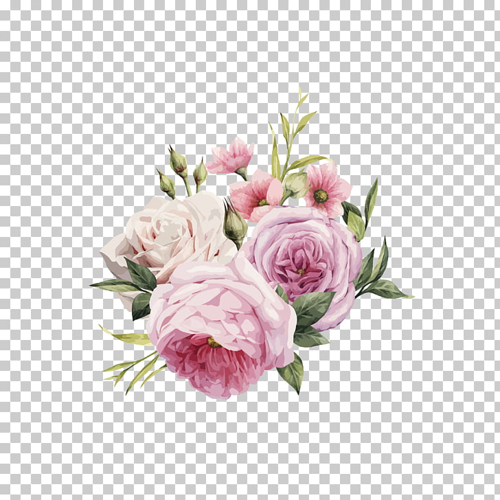 728x728 Pink Flowers Rose Color, Hd Hand Painted Watercolor Roses , Pink