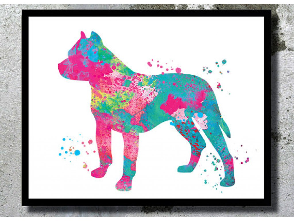 1024x768 Pitbull Watercolor Dog Art Print Dog Watercolor Pit Bull Home