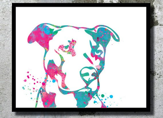 570x412 Pitbull Watercolor Dog Art Print Dog Watercolor Pit Bull Home