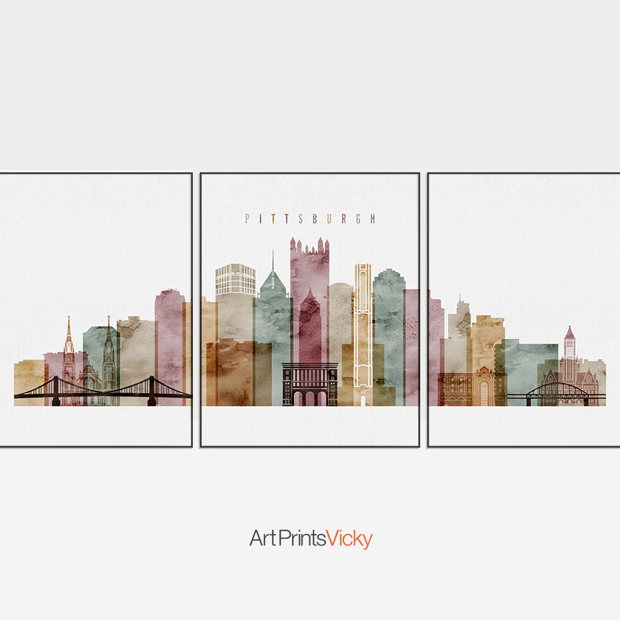 900x900 Pittsburgh Set Of 3 Prints Skyline Watercolor 1 Artprintsvicky