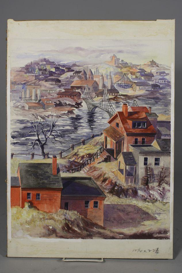 633x950 Artist Unknown (20th Century) Scenes Of Pittsburgh, Watercolor On