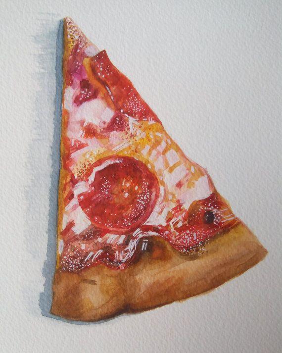 570x713 Pizza Watercolor Gouache Illustration Food Illustration Pizza