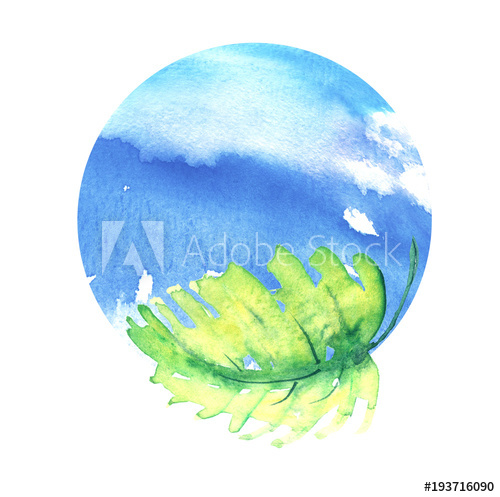 500x497 Green Branch With Leaves And Blue Planet Earth. A Round Watercolor