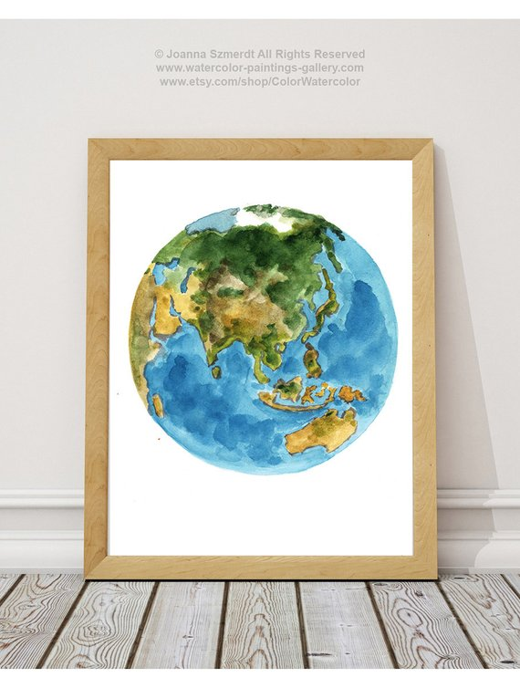 570x754 Planet Earth Colors Abstract Watercolor Painting Blue Green Etsy