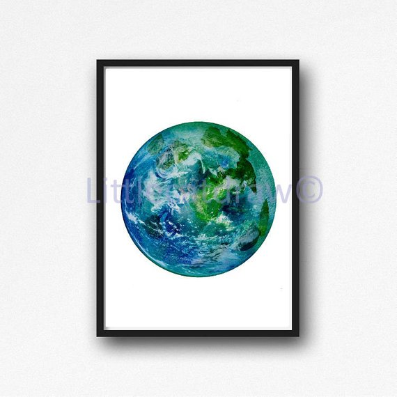570x570 Planet Earth Print Watercolor Planet Solar System Space Art Etsy