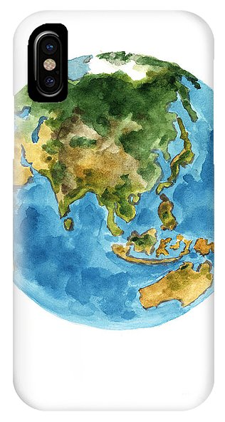 316x592 Planet Earth Watercolor Art Print Painting Iphone X Case For Sale