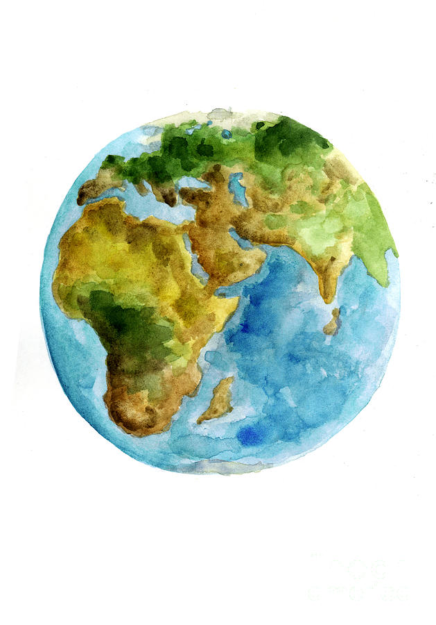 629x900 Planet Earth Watercolor Poster Painting By Joanna Szmerdt