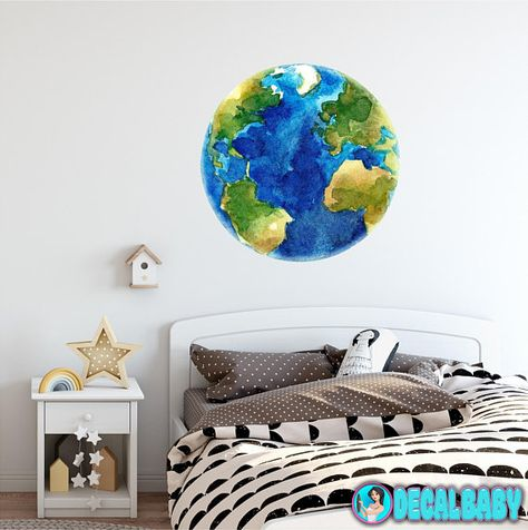 474x476 Planet Earth Watercolor Wall Decal Sticker Solar System Mural