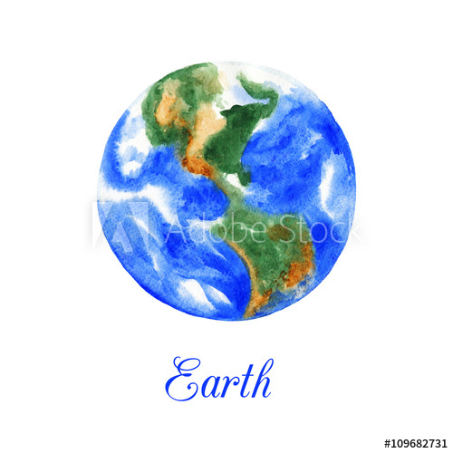 500x500 Planet Earth. Watercolor Illustration Isolated On White Background