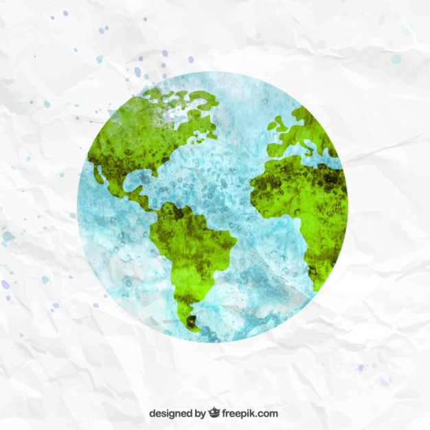 626x626 The Earth In Watercolor Style Vector Premium Download