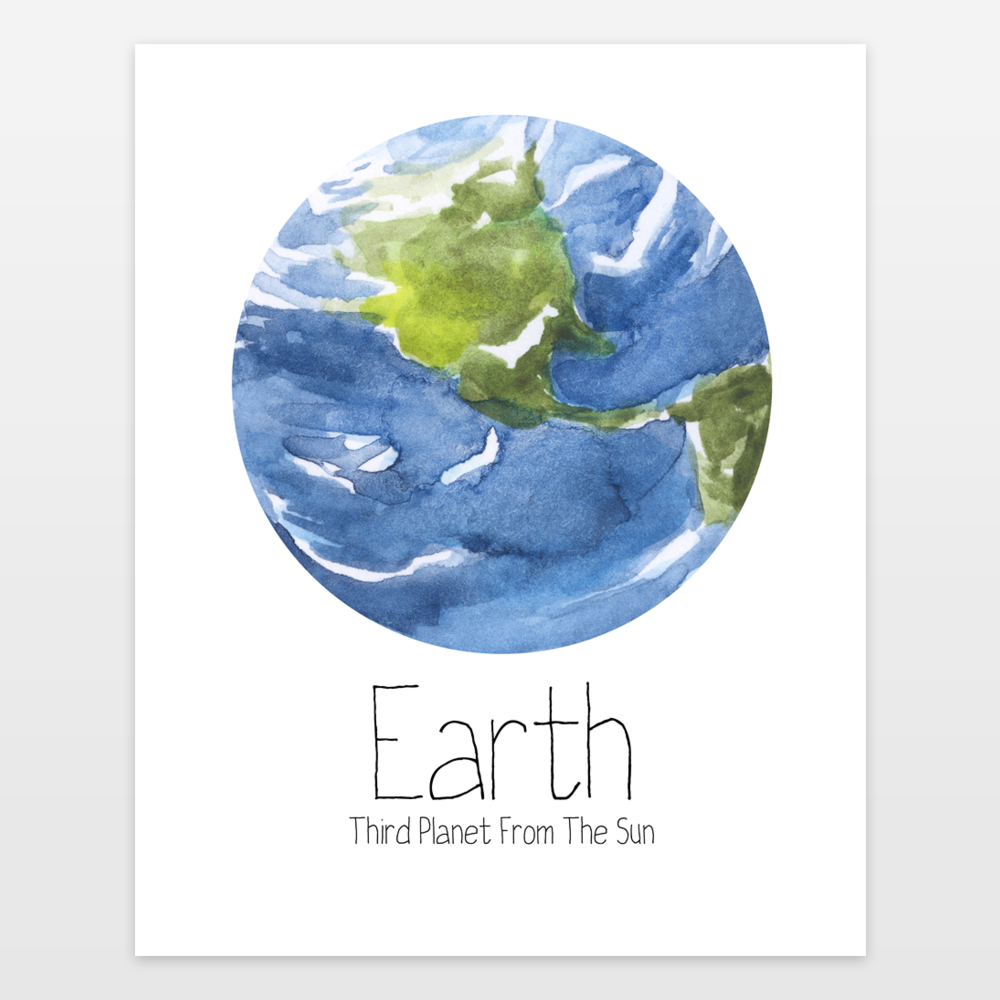 1000x1000 Watercolor Planet Earth Solar System Outer Space Art Art Print By