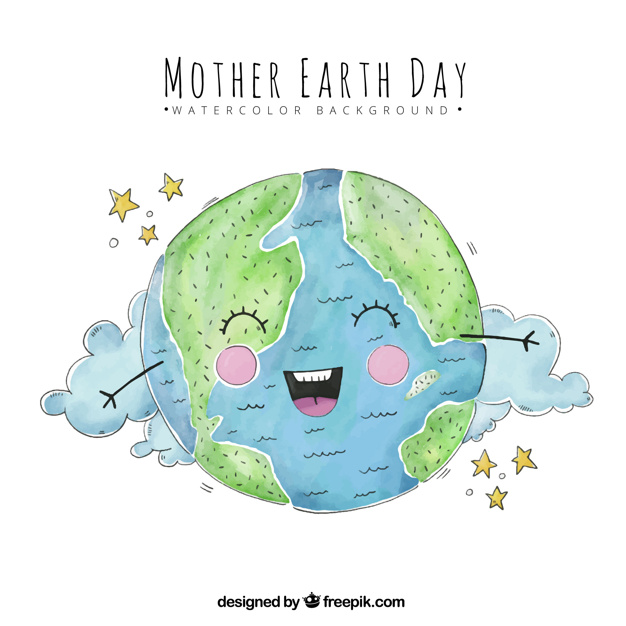626x626 Watercolor Background With Smiling Planet Earth Vector Free Download