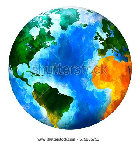 450x470 Watercolor Planet Earth. Isolated Planet On White Background