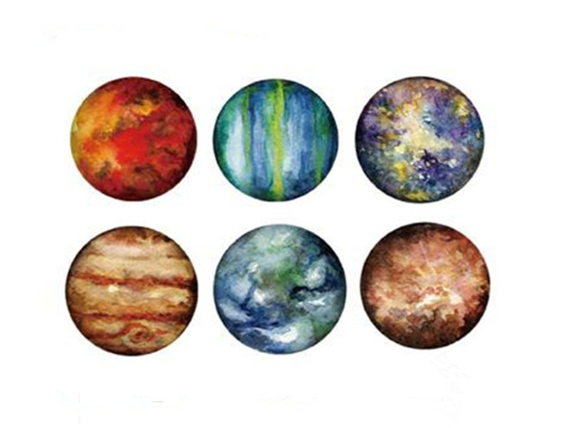 640x483 Waterproof Temporary Fake Tattoo Stickers Watercolor Red Blue