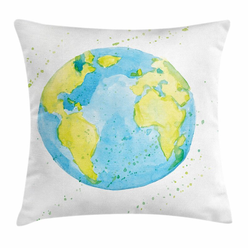 800x800 East Urban Home Earth Watercolor Style Planet Square Pillow Cover